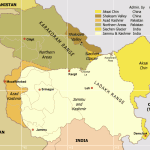 Map of Kashmir Standoff including Siachen Glaciers, Kargil via Wikimedia